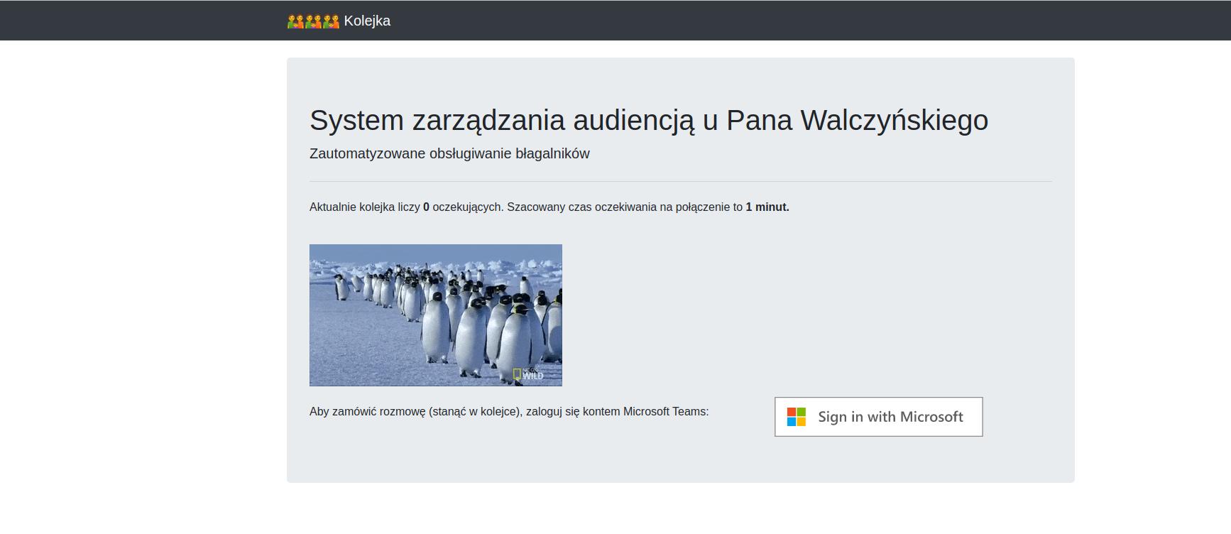 Screenshot of queue system